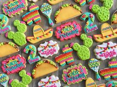 """197 Likes, 12 Comments - Lauren French (@laurenscookieboutique) on Instagram: """"Taco TWOsday cookies for Emma's birthday!!! Love this theme!!  #tacos #tacotwosday #tacocookies…"""""""