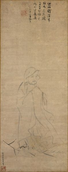 Li Yaofu (Chinese, active ca. 1300), Bodhidharma crossing the Yangzi River on a reed 元 李堯夫 蘆葉達摩圖 軸, before 1317, Yuan dynasty (1271–1368). Hanging scroll; ink on paper. Image: 33 3/4 × 13 5/16 in. (85.7 × 33.8 cm) Overall with mounting: 61 1/4 × 14 in. (155.6 × 35.6 cm) Overall with knobs: 61 1/4 × 15 7/8 in. (155.6 × 40.3 cm). Edward Elliott Family Collection, Purchase, The Dillon Fund Gift, 1982. The Metropolitan Museum of Art, 1980.275 © 2000–2016 The Metropolitan Museum of Art.