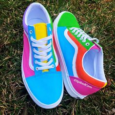 Custom colored all white canvas Vans Old Skool Low Top (aunthentic) Colored with yellow blue green pink orange and light purple ***to trade out or change a Custom Painted Shoes, Painted Vans, Custom Vans, Custom Shoes, Hype Shoes, Buy Shoes, Vans Shoes, Me Too Shoes, Neon Shoes