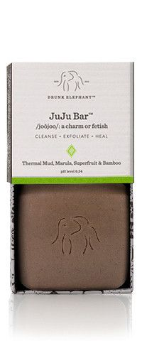 Drunk Elephant JuJu Bar™ - An ultra-mild, 3-in-1 bar that deeply cleanses, subtly exfoliates and heals. Unlike soap, which has a pH level of 9 or above, the JuJu Bar™'s ideal pH-level of 6.34 ensures sufficient cleansing without drying or stripping the skin of its protective barrier.