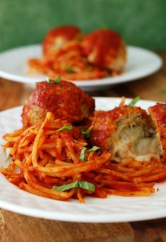 Stuffed Chicken Parmesan Spaghetti and Meatballs Recipe.Cherchies Specialty Food.  Breakfast. Lunch. Dinner. Dessert. Snack. Snacks. Appetizer. Appetizers. Hors D'oeuvre. Hors D'oeuvres. Cuisine. Meal. Entertaining. Elegant. Gourmet. Recipes.