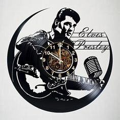 Iskra Shop Elvis Presley - Vinyl Record Wall Clock - Poster - Get Unique Living Room Wall Decor - Gift Ideas for Boys and Girls, Friends, Men and Women – Legendary King Unique Art Design Vinyl Record Crafts, Vinyl Record Clock, Record Wall, Vinyl Art, Vinyl Records, Cool Clocks, Unique Wall Clocks, Clock Art, Diy Clock
