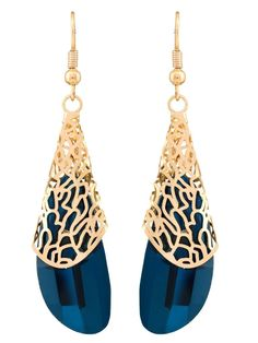 Blue Crystal Gold Design Party wear Earrings