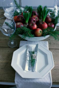 Vintage House - WINTER - hyacinthus bulbs, apples & fir