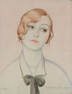 Gerda Wegener: Portrait of a woman. Signed and dated Gerda Wegener 1927. Watercolour and pencil on paper. Visible size 54×42 cm.