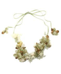 m.soeur(エムスール)のヤマイモレースとお花のネックレス(ネックレス)|グリーン