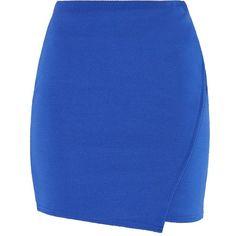 Blue Waffle Texture Wrap Mini Skirt (26 PEN) ❤ liked on Polyvore featuring skirts, mini skirts, faldas, bottoms, new look, saias, short blue skirt, blue skirts, wrap mini skirt and textured skirt