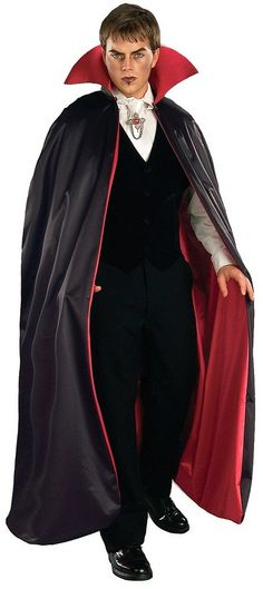 """Deluxe Black and Red 56/"""" Fully Lined Tattered Vampire Dracula Devil Costume Cape"""