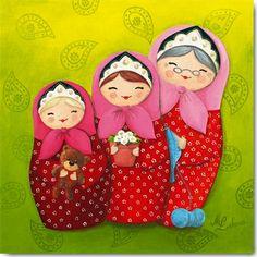 """De mère en fille - Peinture acrylique sur tooile, 30 x 30 cm, éditée en carte postale et en poster chez """"International Graphics"""" - Myriam Lakraa Créations"""