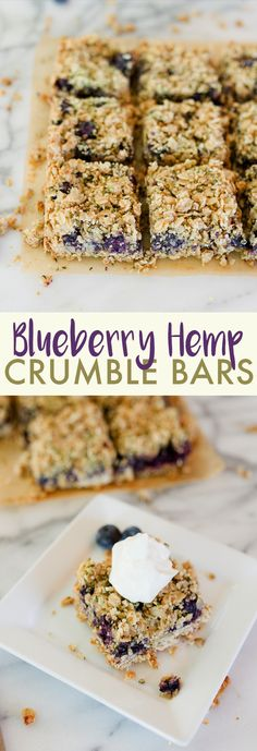 Blueberry Hemp Crumble Bars // Blueberry crumble bars made healthier with nutrient-dense Hemp Hearts, coconut oil and fresh blueberries. Serve these bars for breakfast as a special treat, with ice cream for an indulgent dessert or alone as a snack. Gluten-free, vegan and made with whole grains. Heart Healthy Desserts, Healthy Treats, Healthy Baking, Healthy Recipes, Keto Desserts, Vegan Baking, Healthy Habits, Easy Desserts, Drink Recipes