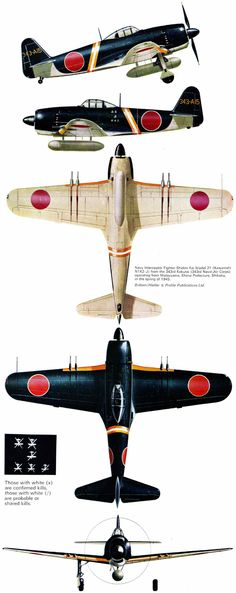 "Kawanishi N1K2-J Model 21, unit Sentou 301st Hikoutai 'Shinsen-Gumi', 343rd kokutai, serial 343-A15, pilot Lt.Naoshi Kanno (72 victories, August 1st, 1945 KIA), Matsuyama, Ehime Prefecture, Shikoku, Spring 1945.  Artist: © Tom Brittain  Source: ""Kawanishi N1K Kyofu/Rex & Shiden/GEORGE"" by Rene J.Francillon, Ph.D., Profile Publications Ltd, No.213"