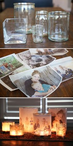 ➡Jar, candles and photographs:This is a great way to have your beloved ones ar. - ➡Jar, candles and photographs:This is a great way to have your beloved ones around you ➡Glas, Teelicht und Fotografien: Das ist eine schöne Idee,. Diy Photo, Photo Craft, Mason Jar Crafts, Bottle Crafts, Mason Jars, Ideias Diy, Diys, Diy Décoration, Sell Diy