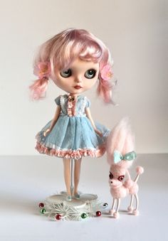 Image of Ameline and the Vampoodle - a Mab Girl - custom Blythe ooak Art Doll