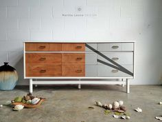 Silver white and wood mid century dresser by Martha Leone Design