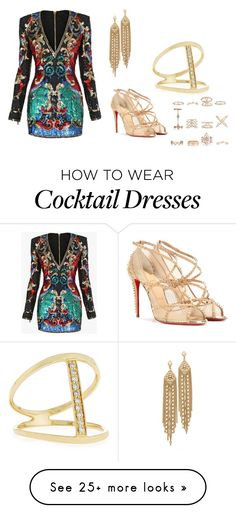 """Cocktail"" by ashgoins on Polyvore featuring Balmain, Christian Louboutin, Capwell + Co, Sydney Evan, New Look and ynvs"