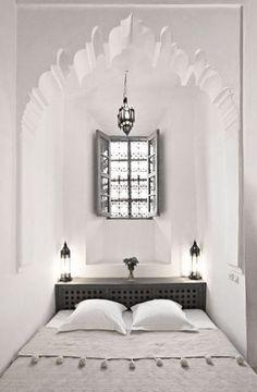 Moroccan Themed Bedroom Decorating Ideas Moroccan bedroom nook found in Dar Hanane Hotel located in Marrakech ☮ FB: Pure House Ibiza: Like & Share ☮Moroccan bedroom nook found in Dar Hanane Hotel located in Marrakech ☮ FB: Pure House Ibiza: Like & Share ☮ Bedroom Nook, Bedroom Themes, Living Room Bedroom, Home Bedroom, Bedroom Decor, Bed Nook, Design Hotel, Villa Design, House Design