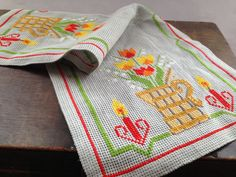 Vintage Swedish Easter table runner with spring flowers Embroidered Easter runner Cross stitch Easter runner