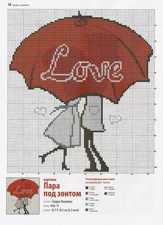 love umbrella cross stitch