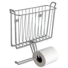 Wall Mount Toilet Double Roll Tissue Holder Magazine Book Rack Chrome Finish New