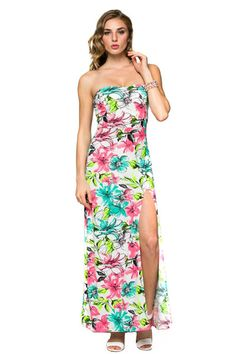 Floral Back Cut-out Design High Slit Strapless Maxi Dress U.S.A