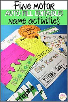 These editable fine motor name activities are fun for preschool and kindergarten kids who are learning to recognize and write their names. Name Activities Preschool, Preschool Education, Preschool Curriculum, Alphabet Activities, Motor Activities, Hands On Activities, Teaching Kids, Classroom Resources, Homeschooling