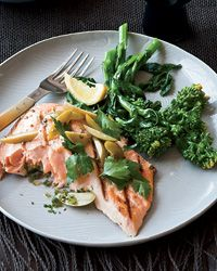 Grilled Salmon with Preserved Lemon and Green Olives   ( Food & Wine)
