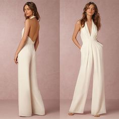 Cheap casual jumpsuit, Buy Quality elegant rompers directly from China rompers womens jumpsuit Suppliers: BEFORW 2018 New Casual Wedding Jumpsuit Sexy Sleeveless Halter Elegant Jumpsuit Ladies Coverall Deep V Sexy Halter Jumpsuit Halter Jumpsuit, Ladies Jumpsuit, Wedding Jumpsuit, Look Fashion, Fashion Design, Feminine Fashion, Cheap Fashion, Fashion Ideas, Casual Wedding