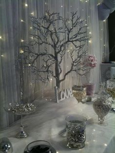 My winter fairytale inspired candy buffet at the Malta wedding fair by rosemarie Wedding Centerpieces, Wedding Table, Wedding Decorations, Christmas Decorations, Table Decorations, Rustic Wedding, Winter Wonderland Theme, Winter Theme, Candy Table