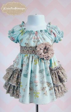 3CutiePiesBowtique/Shabby Chic Peasant Dress