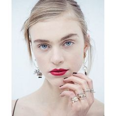 Dior Spring 2016 Haute Couture Beauty | Reinvent the Fiery Red Lip  Faces at Dior offered a cool juxtaposition: While some models got black liner and nude lips for their turn down the runway, it was the bold carmine shade—an electrifying cross between cherry and crimson—spotted on show regular Hedvig Palm that stole our hearts.