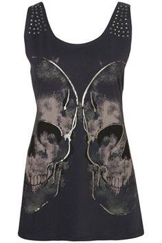 Gem Skull Vest - Jersey Tops - Clothing - Topshop