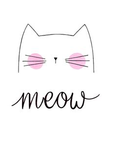 Nursery Art Cute Cat Art Meow Cat Print by morningswithcoffee                                                                                                                                                                                 More