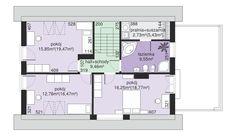 DOM.PL™ - Projekt domu Dom przy Alabastrowej 6 CE - DOM EB3-86 - gotowy koszt budowy Small House Design, Design Case, Home Projects, Floor Plans, Interior, Home Decor, House Ideas, Houses, Manualidades