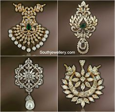 Diamond Pendants for Black Beads Mangalsutra ~ Latest Jewellery Designs