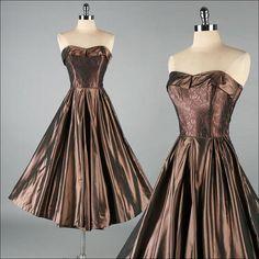 Vintage 1950s Dress . Metallic Copper . 2968 by millstreetvintage, $245.00