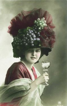 Edwardian Postcard: a hat for wine lovers