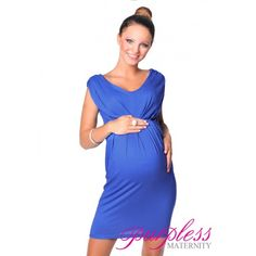 Sleeveless V Neck Maternity Dress Royal Blue for if it is a boy