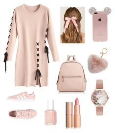"""""""Pale Pink"""" by jessica-trisanti on Polyvore featuring adidas Originals, Kate Spade, Francesca's, MICHAEL Michael Kors, Olivia Burton and Essie"""