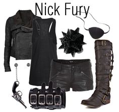 Pinner before:Nick Fury casual cosplay Avengers comic book superhero Outfit Dress, shirt, pants idea/concept