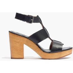 MADEWELL The Irving Sandal (17.440 ISK) ❤ liked on Polyvore featuring shoes, sandals, true black, wedges shoes, black wedge heel sandals, wedge sandals, black high heel shoes and chunky wedge sandals