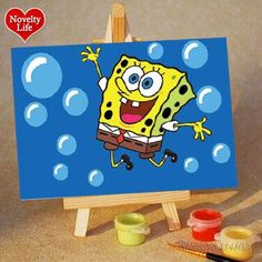 DIY Small Picture Painting By Numbers with Easel Spongebob Children Home Decor Canvas Oil Painit Kids Bed Room Living Wall Art Oil Painting Frames, Oil Painting On Canvas, Canvas Paintings, Drawing For Kids, Painting For Kids, Spongebob Squarepants Cartoons, Spongebob Painting, Diy Canvas Art, Paint By Number