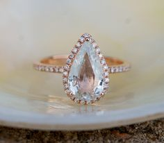 Rose Gold Engagement Ring Jasmine Sapphire Ring 2.5ct cushion 14k rose gold diamond ring. Engagement rings by Eidelprecious.