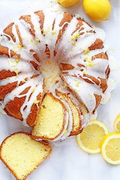 The Ultimate Lemon Cake Recipe (Best Lemon Pound Cake Recipe) - Grandbaby Cakes - Pepinos Recipes Lemon Desserts, Köstliche Desserts, Lemon Recipes, Sweet Recipes, Baking Recipes, Delicious Desserts, Dessert Recipes, Lemon Cakes, Lemon Bundt Cake