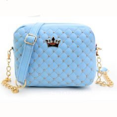 2016 Women bag Solid Candy Colors Ladies Rivet Chain Leather Crossbody Quiled Crown bags Women's Messenger Bags bolsa feminina