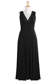Black jersey knit maxi dress