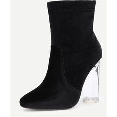SheIn(sheinside) Back Zipper Clear Heeled Velvet Boots ($41) found on Polyvore featuring women's fashion, shoes, boots, clear heel boots, clear high heel shoes, black velvet shoes, black high heel boots and black shoes
