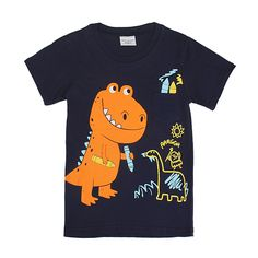 Sale 25% (8.24$) - 2015 New Lovely Dinosaur Baby Children Boy Pure Cotton Short Sleeve T-shirt Top
