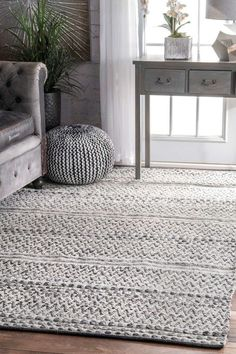 Rugs USA Silver Mentone Reversible Striped Bands Indoor/Outdoor rug - Casuals Rectangle x Rugs In Living Room, Living Room Designs, Living Room Decor, Bedroom Area Rugs, Carpet For Living Room, Ivory Living Room, Dining Rooms, Farmhouse Area Rugs, Rustic Farmhouse