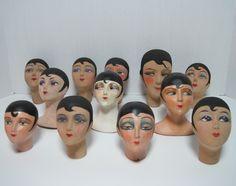 Lot 12 Vintage 1920s Papier Mache Composition Boudoir Doll Heads German French | eBay