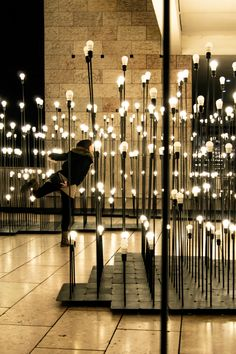 """[ENG] - 'LEDscape' is an installation which deals with light as a constructive element of space and landscape. It is located in the """"Centro Cultural de Belém"""" in Lisbon and aims to introduce the every day user to the LEDARE light bulb, thus. Stage Lighting, Outdoor Lighting, Lighting System, Lighting Solutions, Modern Lighting, Light Art, Light Bulb, Garden Of Lights, Espace Design"""